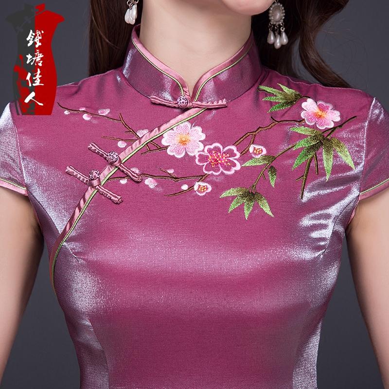 钱塘佳人春装旗袍短款改良时尚版日常绣花旗袍连衣裙复古中式礼服