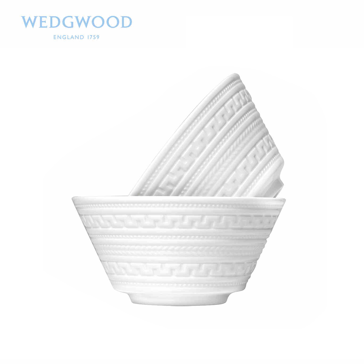 Wedgwood瑋致活 Intaglio浮雕 11.5cm骨瓷米飯碗2只裝 高檔餐具
