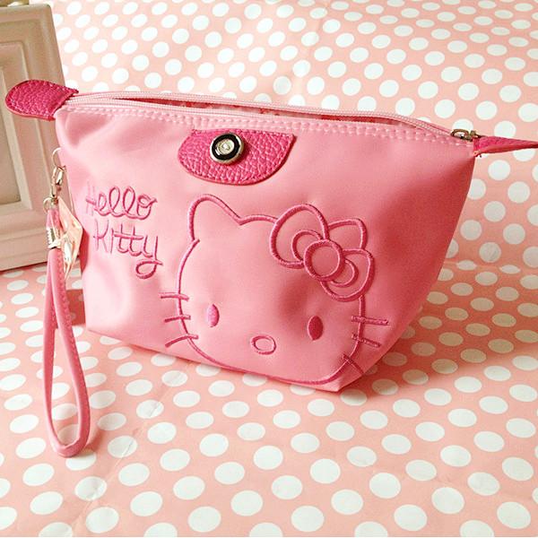 可愛kitty化妝包 卡通kt貓整理包大容量旅行防水收納包