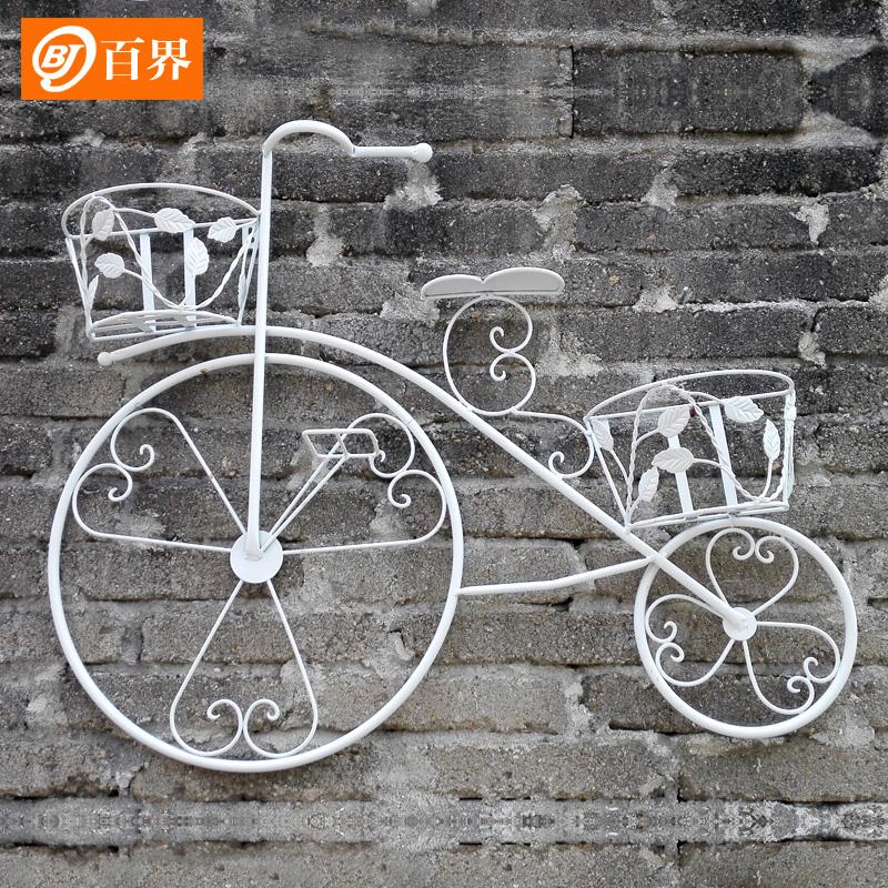 复古铁艺自行车装饰花架花篮壁挂 墙上悬挂阳台花架挂式多层挂件