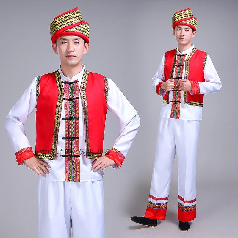 新款广西壮族舞蹈服男女壮族表演服瑶族彝苗族演出服少数民族服装