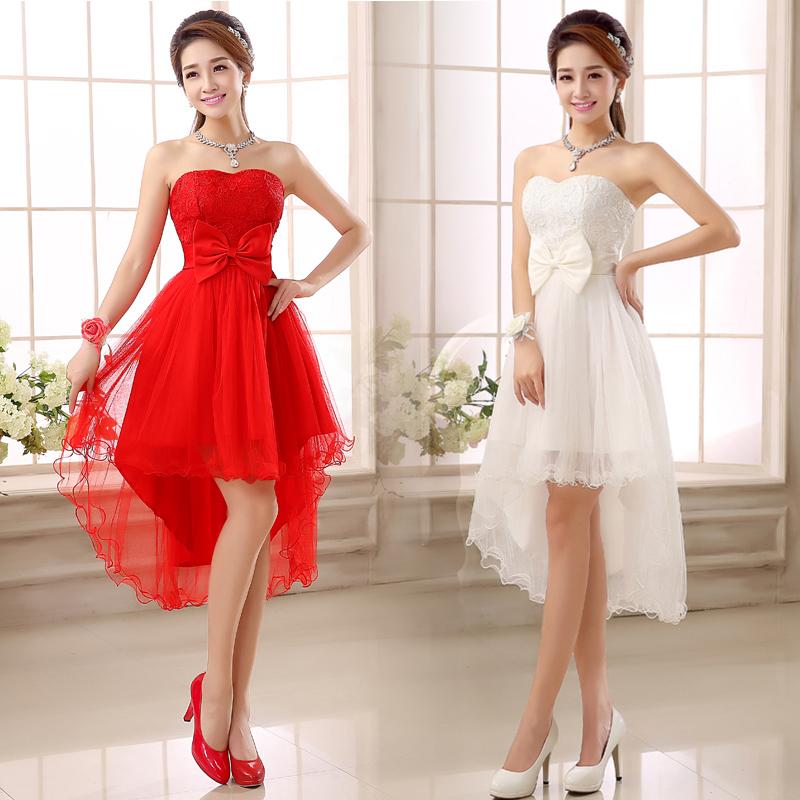 热销新娘礼服中式伴娘红色敬酒服旗袍前短后长短款晚主持礼服包邮