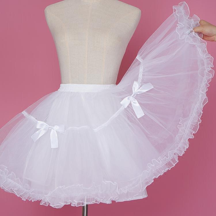 裙撑 lolita洛丽塔日常无骨软纱公主裙纱撑暴力内衬萝莉黑白色