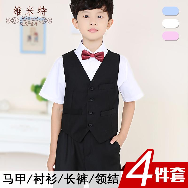 男童短袖襯衫純黑色馬甲西裝長褲套裝夏季兒童襯衣禮服孩表演出服