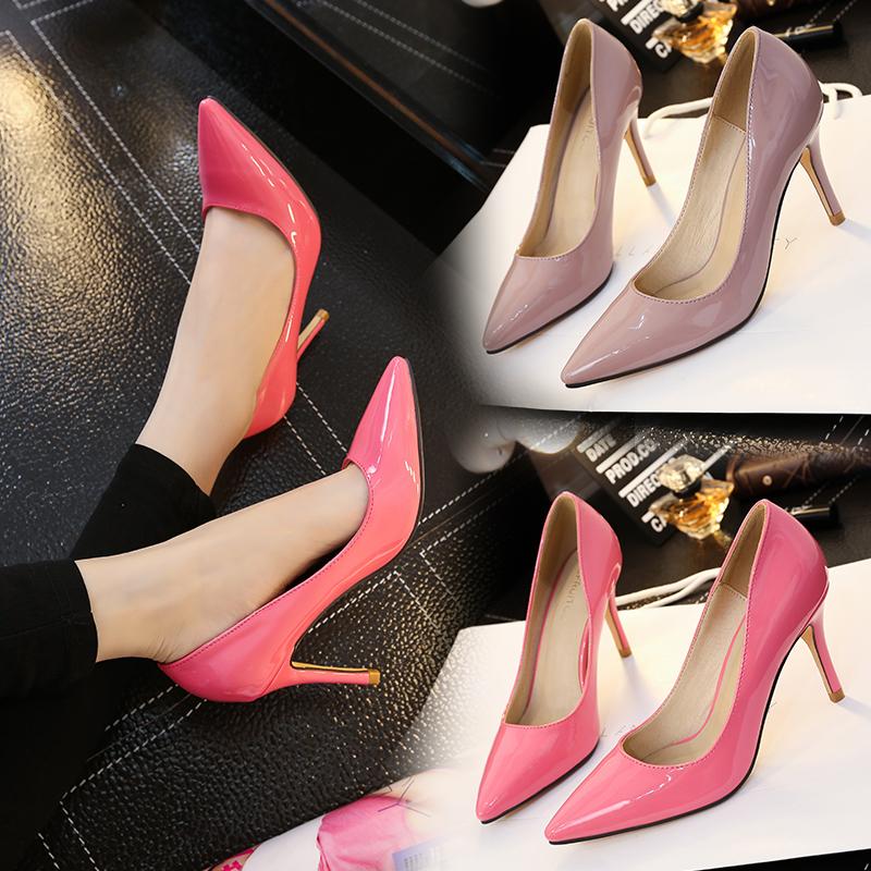 韓版春季裸色尖頭高跟鞋漆皮淺口職業大紅色婚鞋小碼31 32 33女鞋