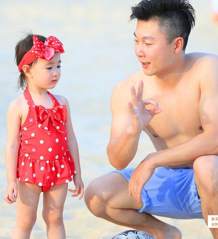 奧莉同款小兒童泳衣可愛女童寶寶連體裙式游泳衣含髮帶泡溫泉泳裝