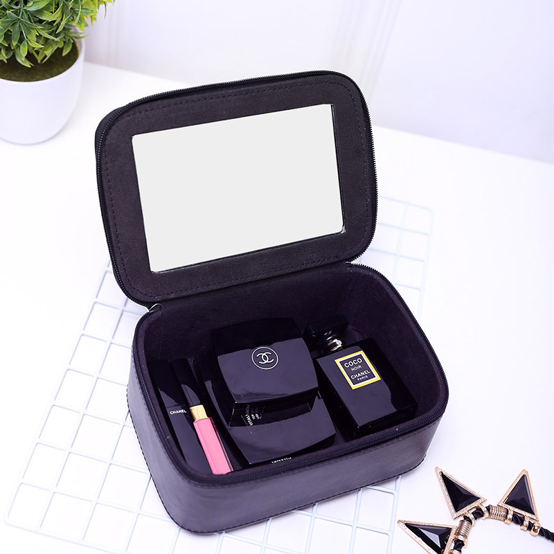 化妝包小號便攜韓國簡約小方包化妝品收納包盒帶鏡子大容量化妝箱