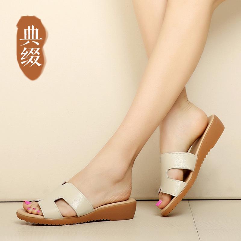 典綴夏季新款平底低跟沙灘鞋牛筋底露趾一字涼拖真皮女鞋防水拖鞋