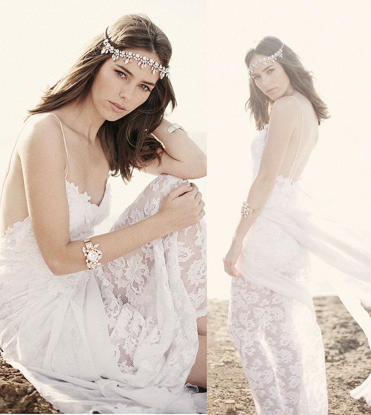波西米亚蕾丝雪纺婚纱仙白色吊带礼服性感露背旅拍蜜月度假轻婚纱