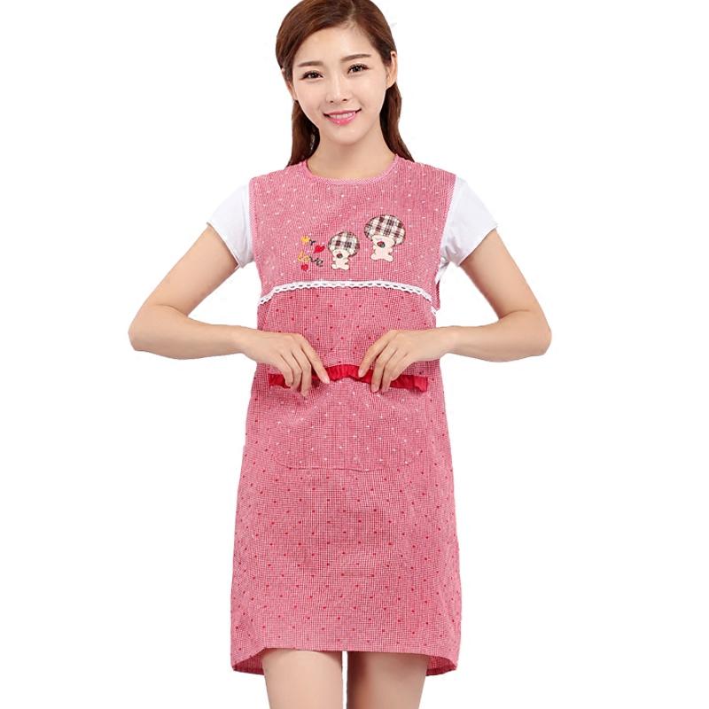 韩版时尚无袖坎肩围裙包邮纯棉厨房成人女罩衣餐厅防油美甲工作服