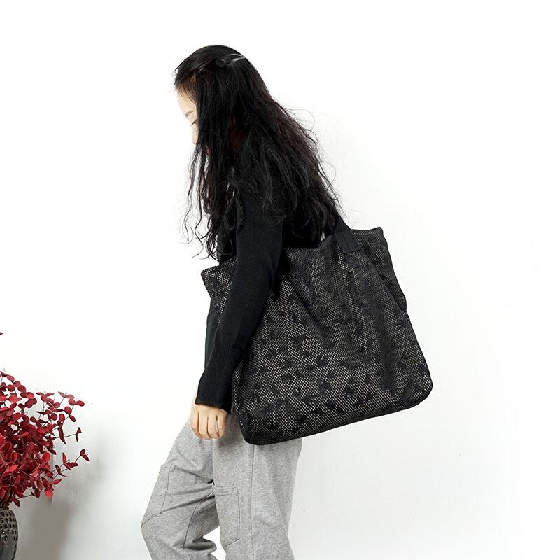 澄心女子原创大气镂空小鸟单肩包简约百搭手提包时尚布包帆布包女