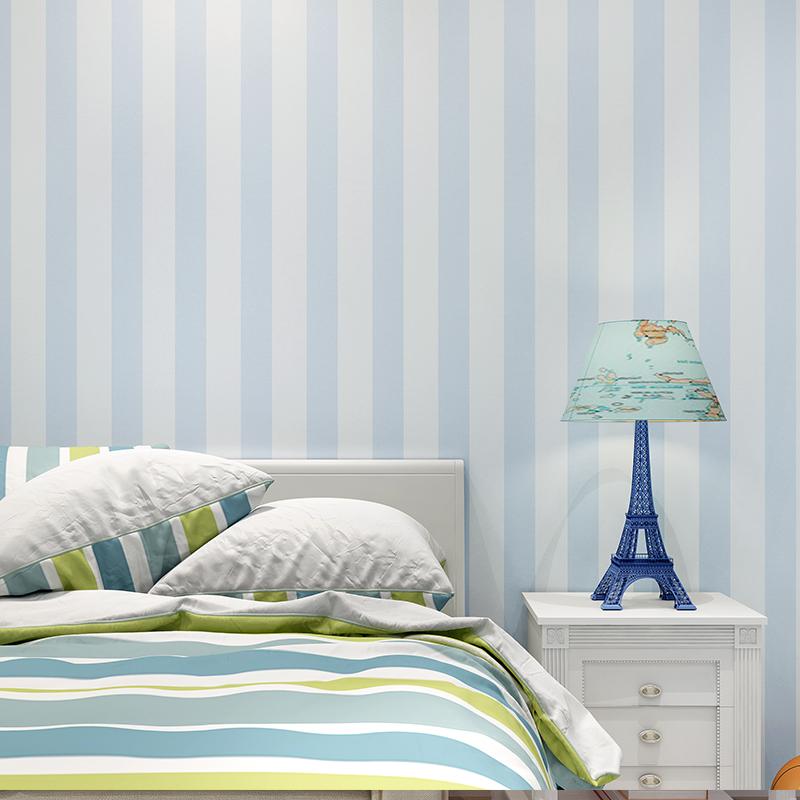 环保纯纸男孩女孩卧室壁纸 卡通儿童房竖条纹墙纸 朗饰 Rasch