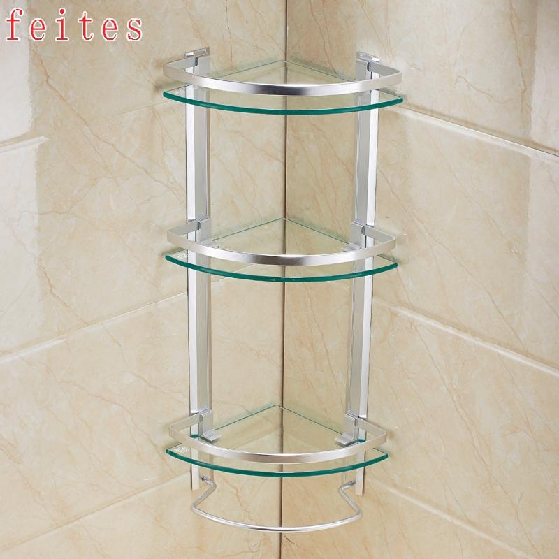 菲特舒 浴室置物架鋼化玻璃三角架三層衛生間收納架浴室角架壁掛