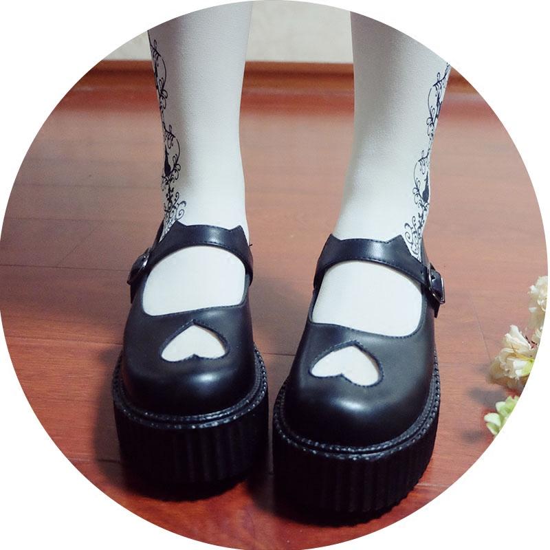 時光裡的店軟少女日系原宿松糕厚底鞋貓耳朵愛心鏤空圓頭娃娃鞋子