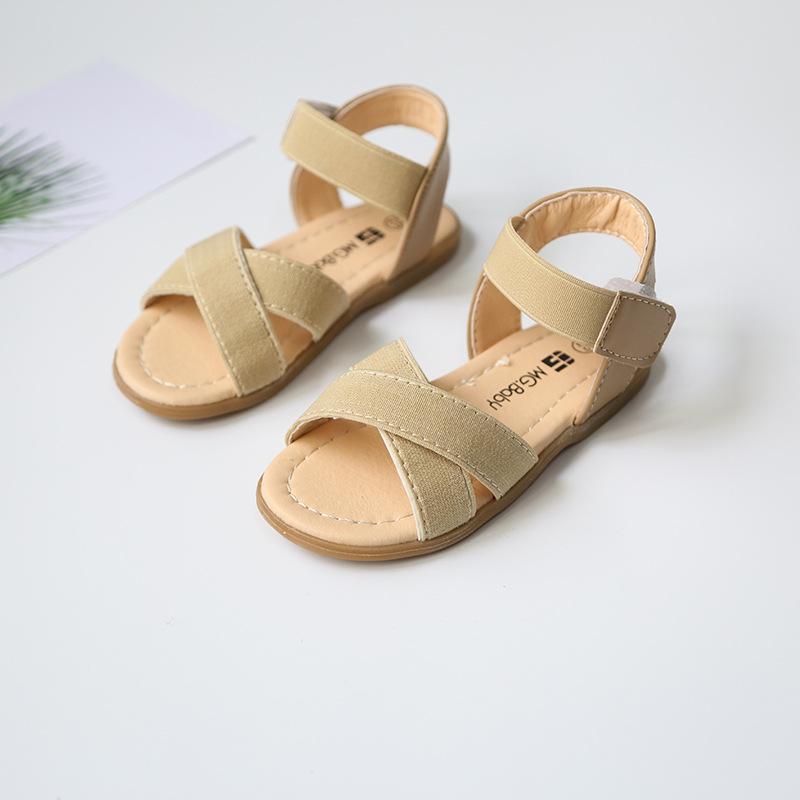 2019夏季新款女童凉鞋时尚儿童松紧带舒适露趾沙滩鞋中小童罗马鞋