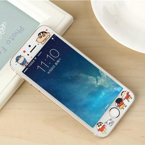 鬆羚 iPhone SE鋼化彩膜蘋果5S手機膜卡通浮雕膜5C防爆玻璃膜5代