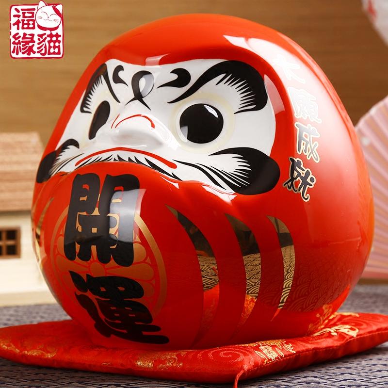 寿司店日本料理店铺开业礼品红色开运达摩摆件陶瓷储蓄罐 福缘猫