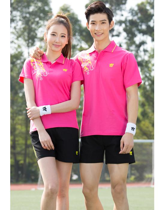 棉羽毛球服套裝男 女款情侶速幹短袖比賽隊服DIY印字乒乓球運動服