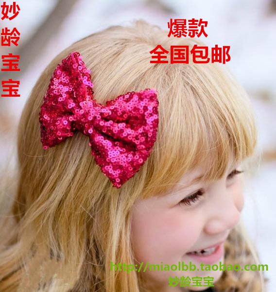 兒童亮片髮飾韓國蝴蝶結髮夾清新田園風發卡女童頭飾寶寶六一發夾