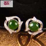 West jade and nephrite jade earrings diamond earrings female 925 silver earrings spinach green jade earrings with a certificate