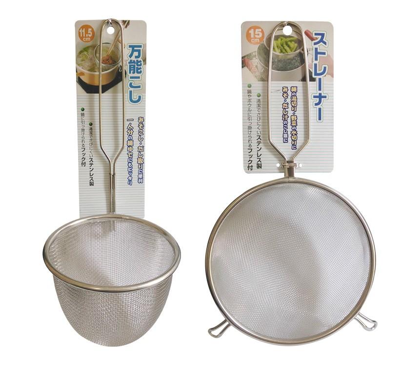 日本進口 ECHO 不鏽鋼漏勺漏網烹飪工具火鍋漏網 耐高溫手柄中號
