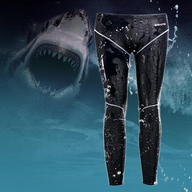 包郵泳褲長款防水速幹男士游泳褲黑色運動款男士專業訓練比賽泳衣