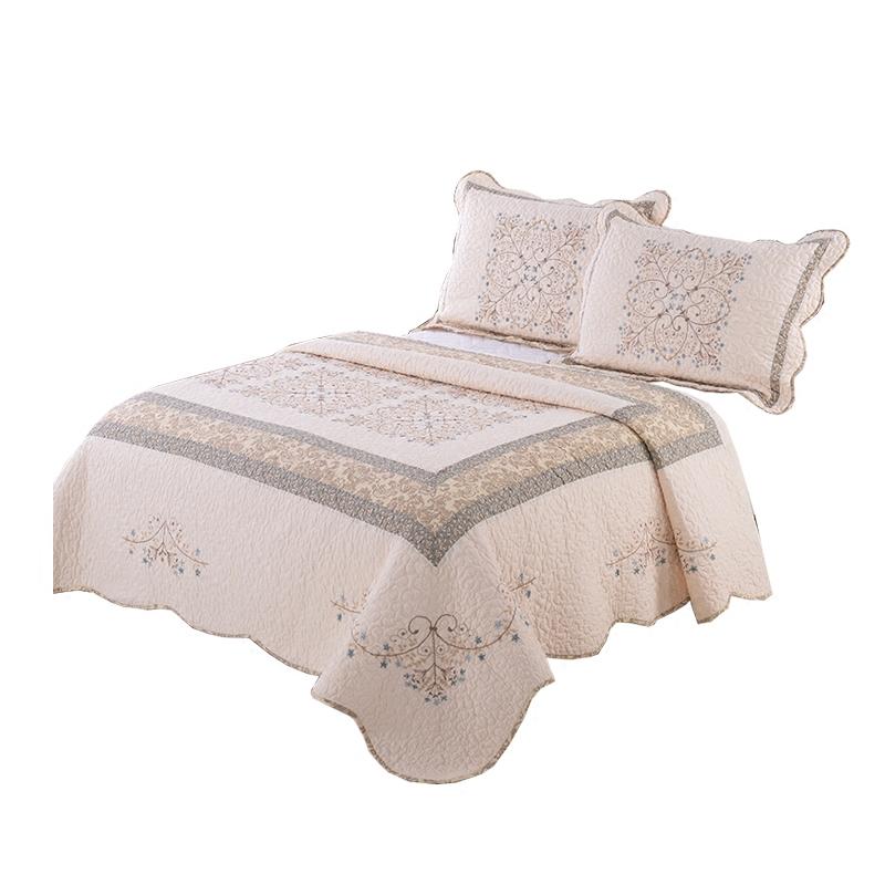 欧式全棉被绗缝绣花被空调被夏凉被春秋被床盖床单双人机水洗包邮
