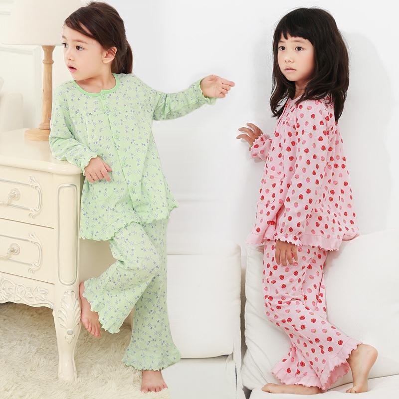 母女親子睡衣女童純棉長袖套裝中大兒童小孩寶寶家居服寬鬆夏春季