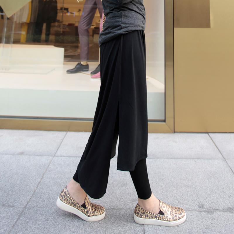 三季可穿新款大碼萊卡棉百搭前短後長不規則假兩件打底褲裙包郵