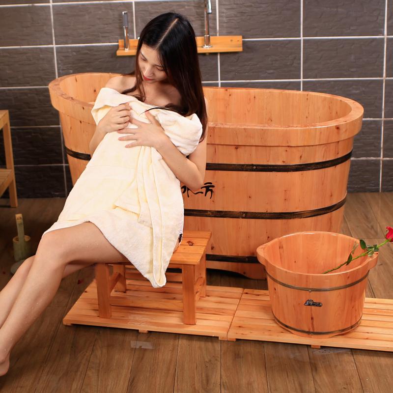 香柏木桶浴桶熏蒸泡澡木桶成人实木洗澡盆浴缸大人沐浴桶全身家用