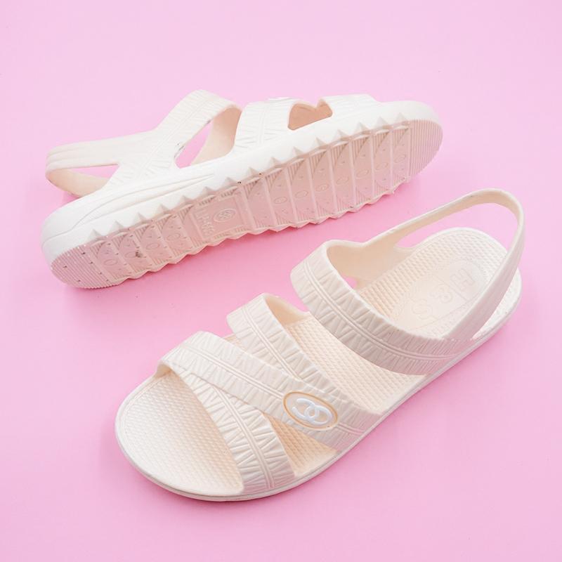2019新款夏塑料平跟婆婆涼鞋女媽媽鞋子沙灘平底軟底舒適防滑時尚