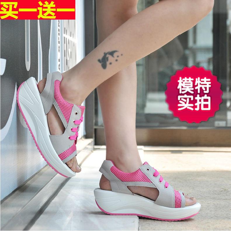 速達美新搖搖鞋夏季魚嘴涼鞋運動休閒女鞋韓版增高厚底鬆糕鞋軟底