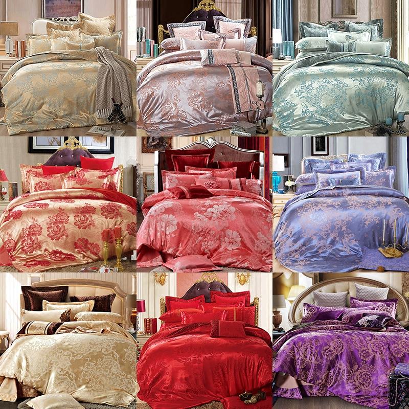 欧式贡缎提花四件套1.8m床上用品纬纱全棉纯棉宿舍4件套被套床单