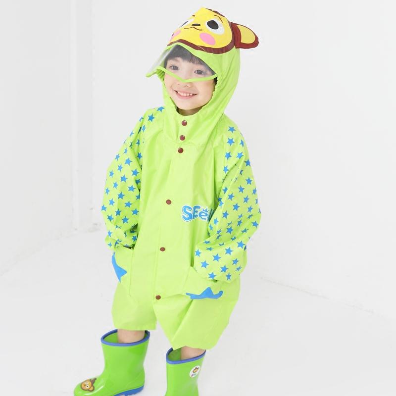 户外游大帽檐儿童雨衣恐龙加厚透气无气味带书包位拉链男女童雨衣