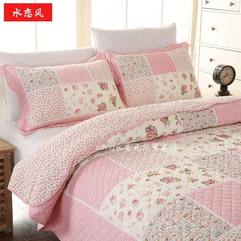 四季床上用品韓式田園全棉拼布絎縫被床蓋三件四件套加厚夾棉床單