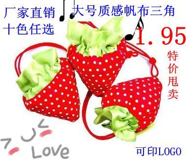廠家直銷草莓環保購物袋定製摺疊手提袋收納便攜布袋子可印字LOGO