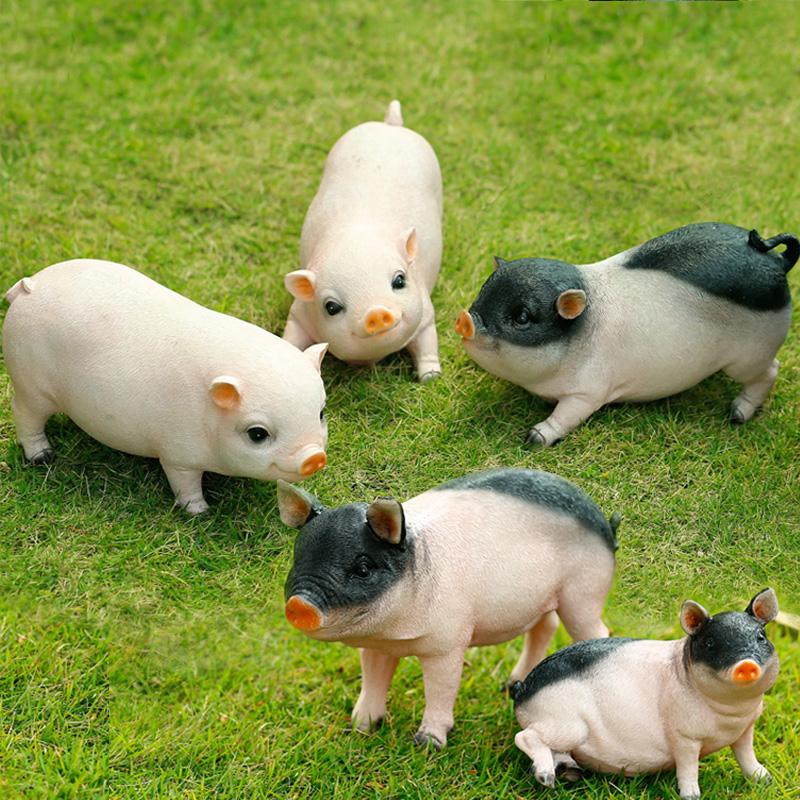 樹脂工藝品小豬擺件模擬動物雕塑十二生肖豬擺設花園裝飾特價包郵