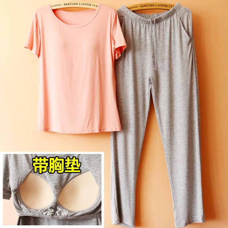 可外穿 带胸垫睡衣女夏莫代尔短袖 加大码休闲瑜伽运动家居服套装