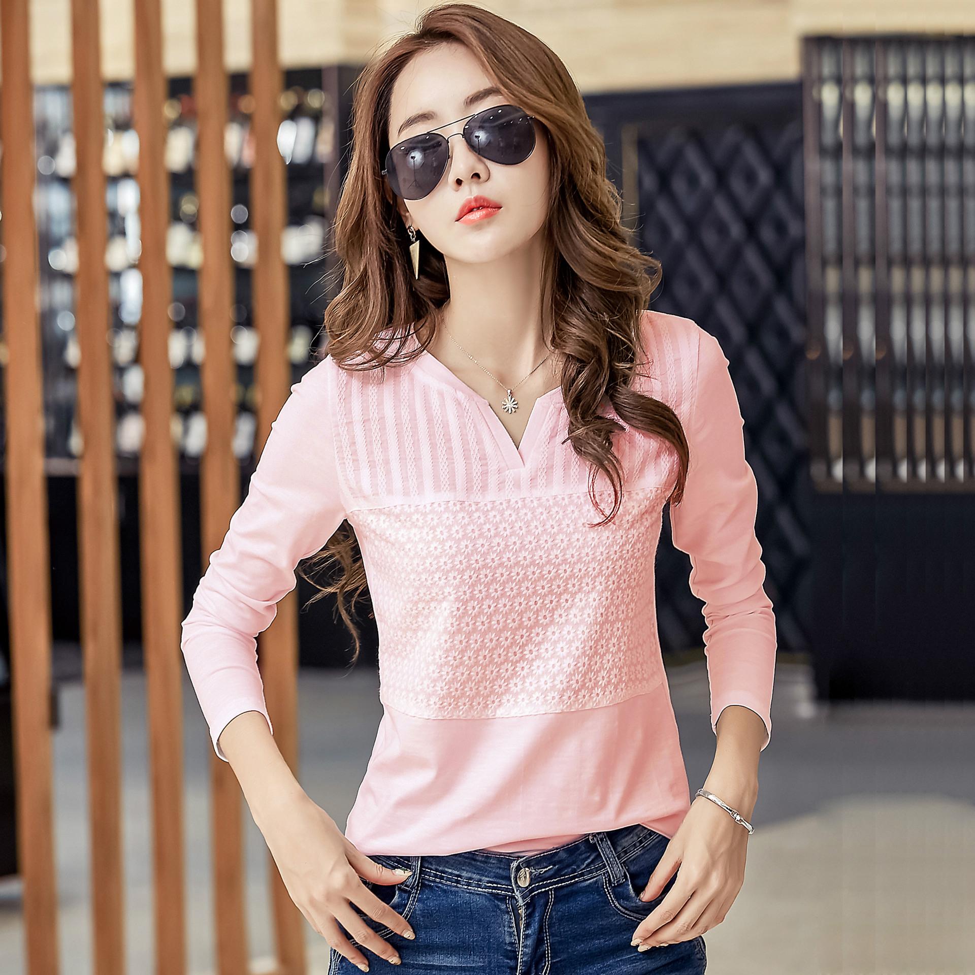 2018春装新款韩版修身V领长袖T恤女时尚休闲纯棉打底衫百搭上衣潮
