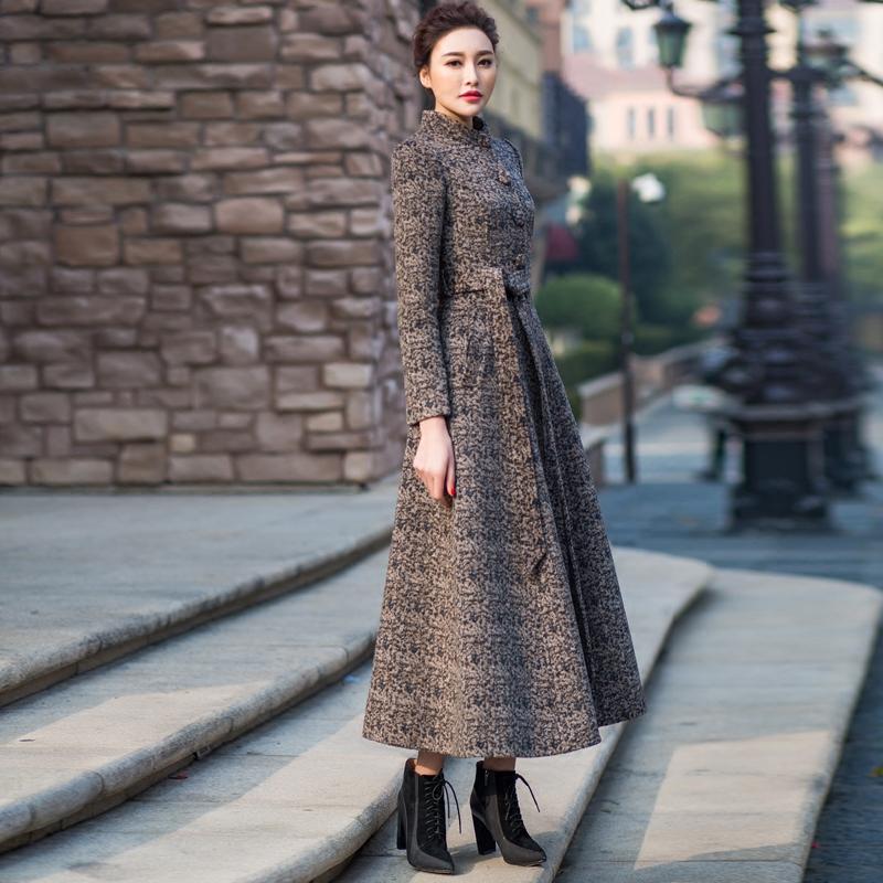 首尚衣品2018新款羊绒中长款修身气质显瘦立领毛呢外套羊毛大衣Sa