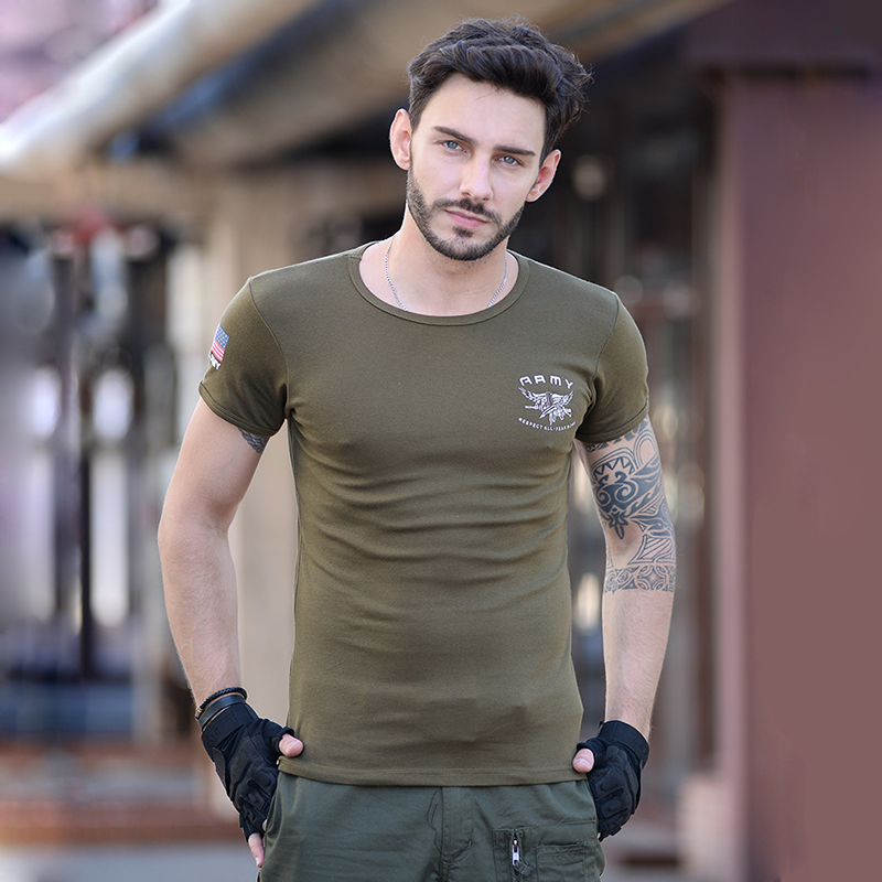 军野行夏季男士短袖t恤户外军迷特种兵圆领紧身弹力半袖T恤