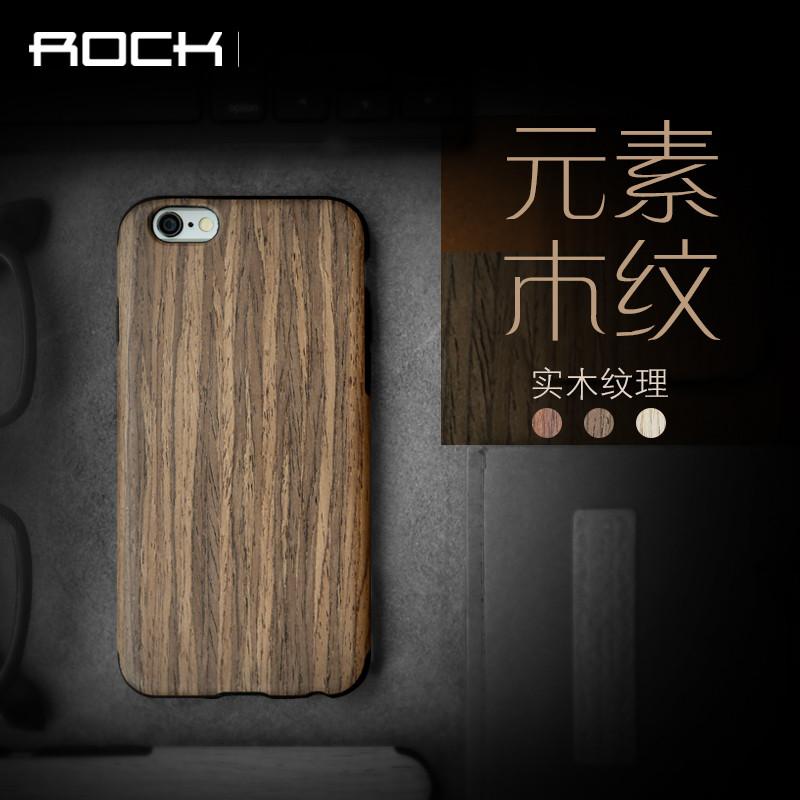 ROCK iPhone6手機殼超薄iPhone6s保護套蘋果6sp皮套5.5寸實木矽膠新款潮6plus保護套實木軟矽膠防摔殼