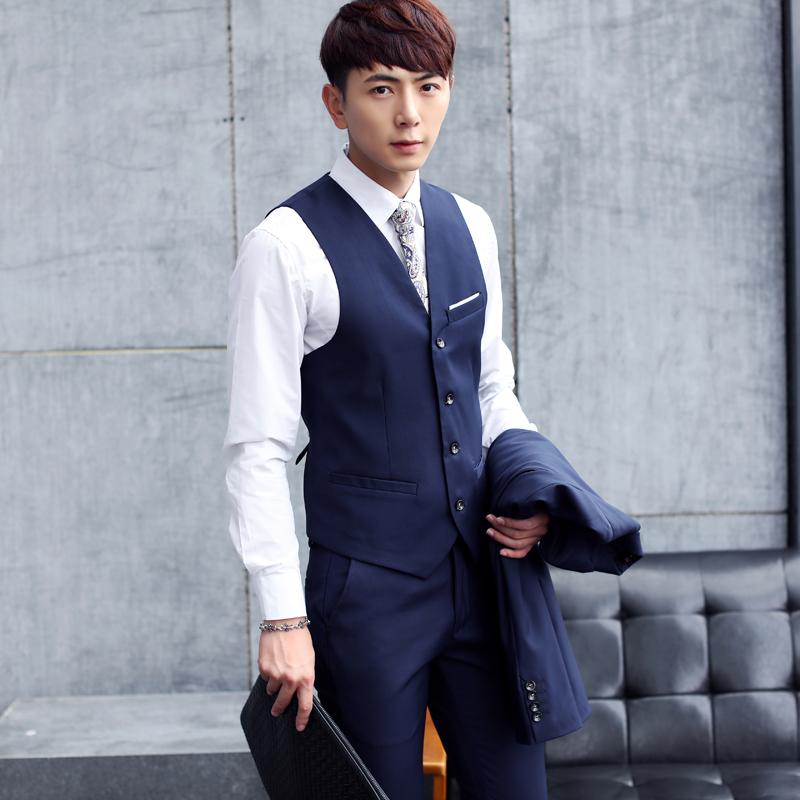 新款男装发型师青年西服套装修身韩版休闲英伦西装6XL大码三件套