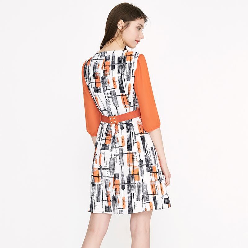 海兰丝夏季短袖修身a字裙新款七分袖休闲休闲印花雪纺连衣裙女夏