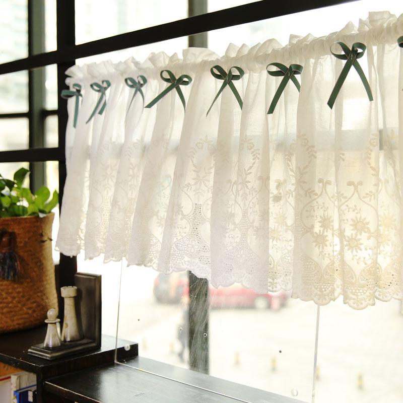 韓式田園純棉鏤空刺繡布藝半簾成品飄窗簾宜家咖啡簾門簾定製短簾