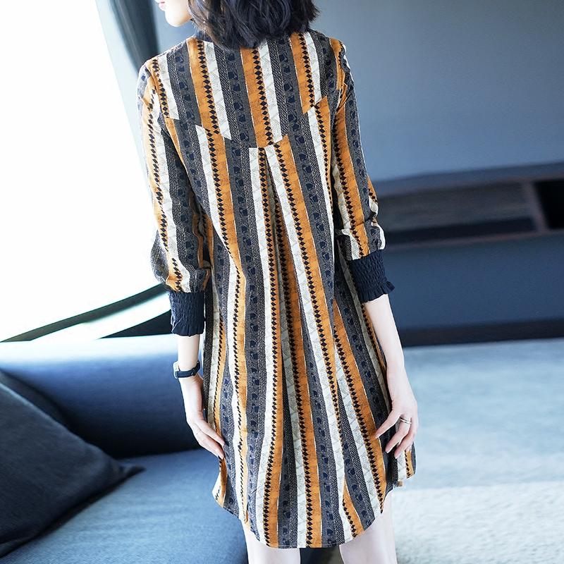 2018新款女装春装名媛气质中长款印花连衣裙女宽松显瘦V领大摆裙