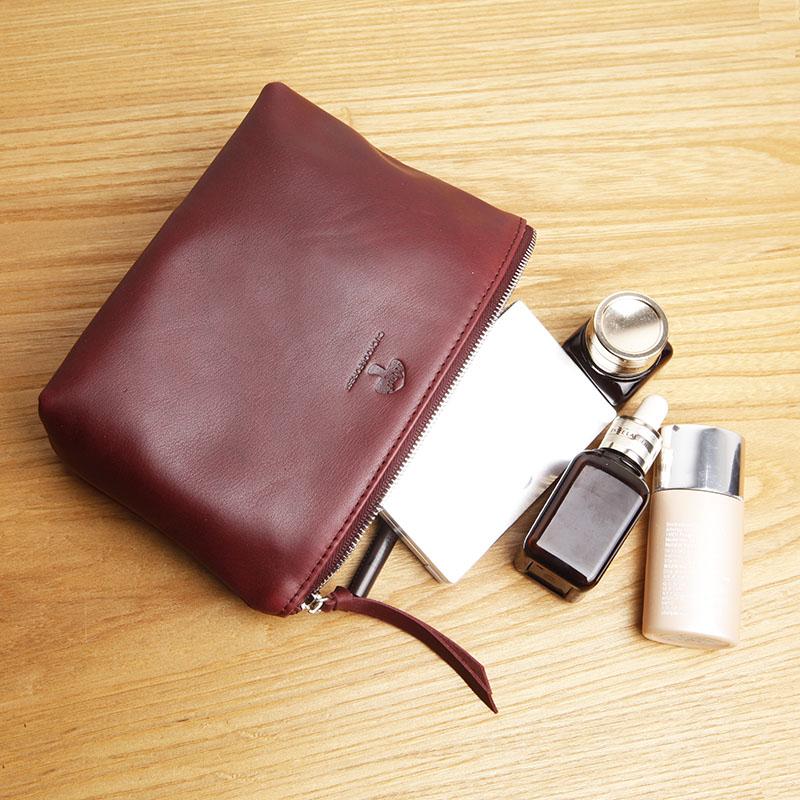 真皮化妝包女士頭層牛皮小手拿包 收納包手機零錢袋便攜化妝包包