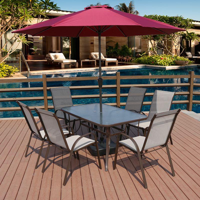 户外长方桌阳台庭院桌椅带伞室外花园铁艺休闲椅家具组合露台凉天