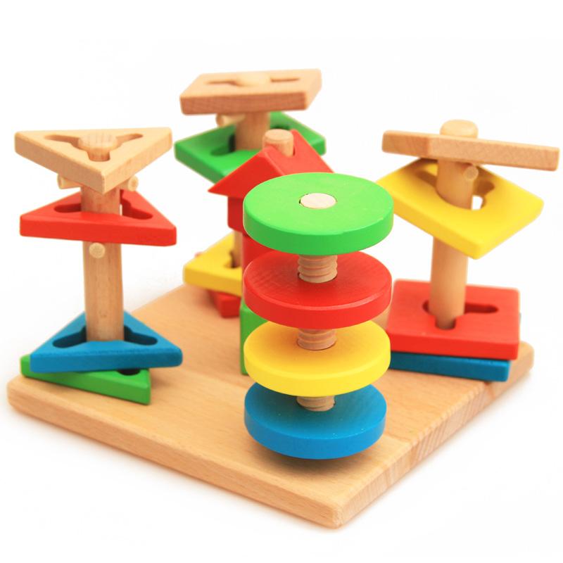 启蒙早教益智木质几何形状智慧配对拆装积木五套柱木制玩具1-2-3