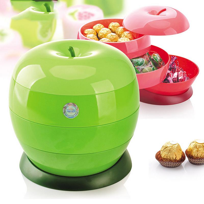 客廳蘋果造型乾果盤 塑料創意現代分層帶蓋歐式家用零食盤糖果盒